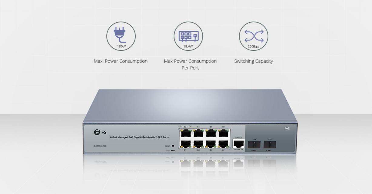 FS S1130-8T2F managed 8 port PoE switch