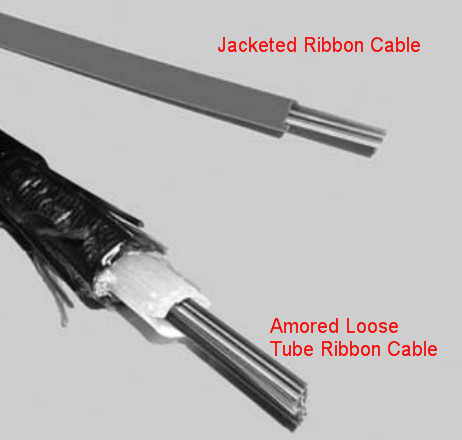 armored loose tube ribbon cable and jacket ribbon cable